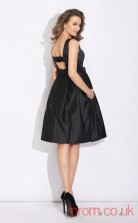 Black Satin A-line Mini Bateau Graduation Dress(JT2381)