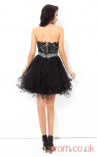 Black Tulle Lace A-line Mini Sweetheart Graduation Dress(JT2382)