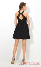 Black Lace Chiffon A-line Mini Straps Graduation Dress(JT2383)