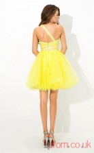 Yellow Tulle A-line Mini One Shoulder Graduation Dress(JT2384)