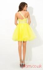 Yellow Tulle A-line Mini One Shoulder Graduation Dress(JT2384)