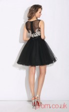 Black Lace Chiffon A-line Mini Illusion Graduation Dress(JT2387)