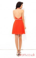 Dark Orange Chiffon A-line Mini Halter Graduation Dress(JT2391)