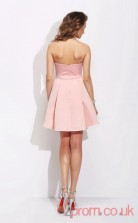 Pink Satin Lace A-line Mini Sweetheart Graduation Dress(JT2393)