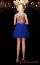 Blue Chiffon A-line Mini Illusion Short Sleeve  Graduation Dress(JT2398)