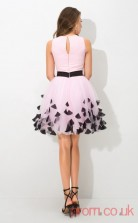 Blushing Pink Chiffon A-line Mini Bateau Graduation Dress(JT2410)