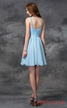 Sky Blue Chiffon Tulle A-line Mini Halter Graduation Dress(JT2415)