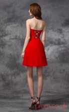 Red Chiffon A-line Mini Sweetheart Graduation Dress(JT2418)
