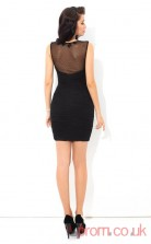 Black Chiffon Sheath Mini Illusion Graduation Dress(JT2421)