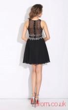 Black Chiffon A-line Mini Bateau Graduation Dress(JT2423)