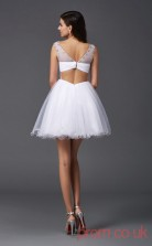 White Tulle A-line Mini Bateau Short Sleeve  Graduation Dress(JT2425)