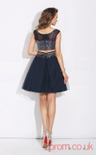Navy Blue Tulle A-line Mini Bateau Short Sleeve Two Piece  Graduation Dress(JT2426)