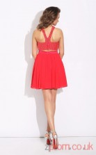 Red Chiffon A-line Mini HalterTwo Piece  Graduation Dress(JT2431)