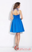 Ocean Blue Satin Chiffon A-line Mini High Neck Graduation Dress(JT2432)