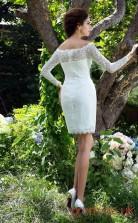 Ivory Lace Sheath Mini Off The Shoulder Long Sleeve  Graduation Dress(JT2433)