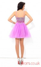 Dark Lilac Tulle A-line Mini Straps Graduation Dress(JT2434)