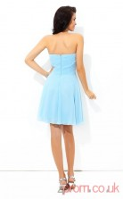 Light Blue Chiffon A-line Mini Sweetheart Graduation Dress(JT2439)