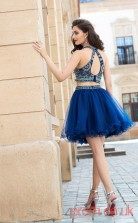 Navy Blue Tulle A-line Mini HalterTwo Piece  Graduation Dress(JT2444)