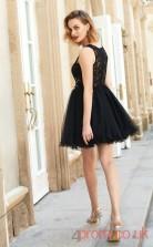 Black Lace Tulle A-line Mini Bateau Graduation Dress(JT2449)