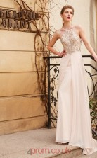 Ivory Chiffon A-line Halter Floor-length Evening Dress(JT2456)