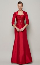 Two Piece Burgundy Taffeta Trumpet/Mermaid Sweetheart Floor-length Mother's Evening Dress(JT2457)