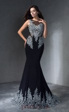 Black Spendex Trumpet/Mermaid Illusion Floor-length Evening Dress(JT2468)
