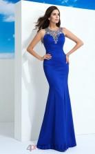 Blue Satin Trumpet/Mermaid Illusion Floor-length Evening Dress(JT2476)