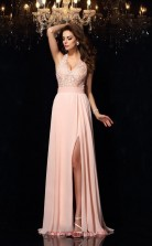 Pink Chiffon Trumpet/Mermaid V-neck Floor-length Formal Prom Dress(JT2478)