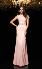 Pink Satin Chiffon Trumpet/Mermaid Short Sleeve Bateau Floor-length Evening Dress(JT2479)