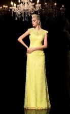 Yellow Lace Sheath/Column Short Sleeve Scalloped Floor-length Evening Dress(JT2481)