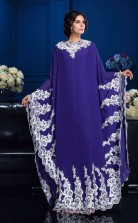 Purple Chiffon A-line Long Sleeve Jewel Floor-length Muslim Dress(JT2487)