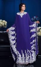 Purple Chiffon A-line Long Sleeve Jewel Floor-length Muslim Dress(JT2487)