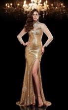 Gold Sequined Trumpet/Mermaid Long Sleeve High Neck Sweep Train Evening Dress(JT2493)