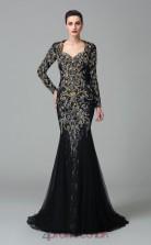 Black Lace , Tulle Trumpet/Mermaid Long Sleeve Scalloped Floor-length Evening Dress(JT2496)