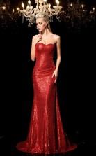 Light Burgundy Sequined Trumpet/Mermaid Sweetheart Sweep Train Formal Prom Dress(JT2498)