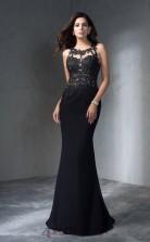 Black Chiffon Trumpet/Mermaid Scalloped Floor-length Evening Dress(JT2500)