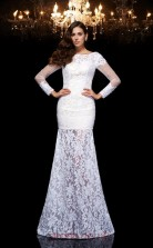 White Lace Bateau Long Sleeve Floor-length Mermaid Evening Dress(JT2501)