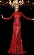 Burgundy Sequined Bateau Long Sleeve Sweep Train Mermaid Wedding Formal Dress(JT2504)