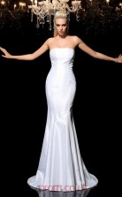 White Taffeta Strapless Sweep Train Mermaid Wedding Formal Dress(JT2505)
