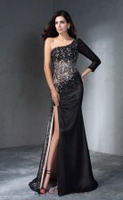 Side Split Black Lace Chiffon One Shoulder 3/4 Length Sleeve Floor-length Mermaid Wedding Formal Dress(JT2508)