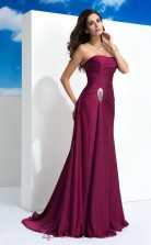 Light Grape Satin Chiffon Strapless Sweep Train Mermaid Wedding Formal Dress(JT2514)