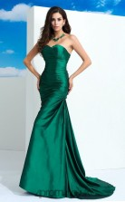 Dark Green Charmeuse Sweetheart Sweep Train Mermaid Wedding Formal Dress(JT2516)