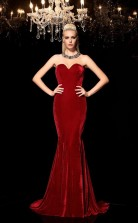 Burgundy Velvet Sweetheart Sweep Train Trumpet Wedding Formal Dress(JT2518)