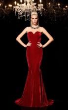Burgundy Velvet Sweetheart Sweep Train Trumpet Wedding Formal Dress(JT2518)
