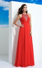Orange Red Chiffon Jewel Floor-length A-line Evening Dress(JT2521)
