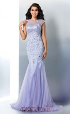 Lavender Lace Tulle Illusion Short Sleeve Floor-length Trumpet Prom Dress(JT2522)