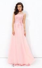 Candy Pink Chiffon Illusion Floor-length A-line Wedding Formal Dress(JT2525)