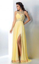 Side Split Yellow Chiffon Illusion Floor-length ColumnEvening Dress(JT2534)
