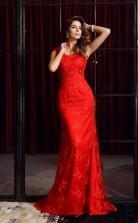 Red Satin Chiffon Scoop Floor-length Mermaid Prom Dress(JT2539)