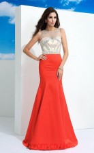Orange Red Chiffon Illusion Floor-length Mermaid Evening Dress(JT2540)